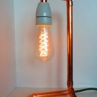 Kupferlampe mit Porzellanfassung